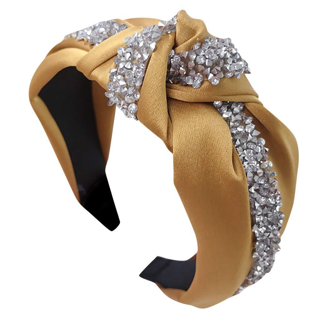 Fashion Bow Knot Headband Hairband with Embellished with Rhinestones Elastic Hair Hoop (Yellow)