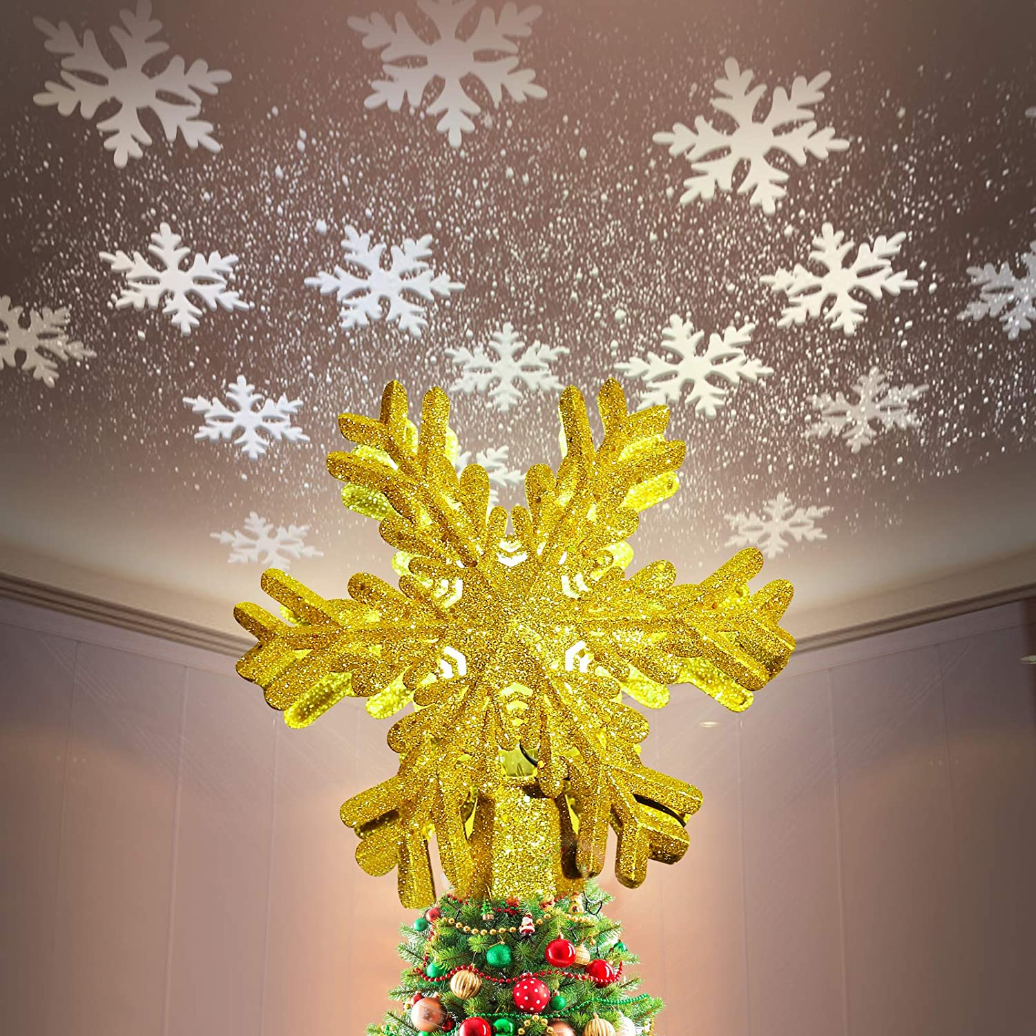 Tenflyer Snowflake Christmas Tree Topper Lighted with LED Rotating Magic Snow Projector, 3D Hollow Glitter Lamp Decor for Xmas Tree Decorations Festival Night (Gold)