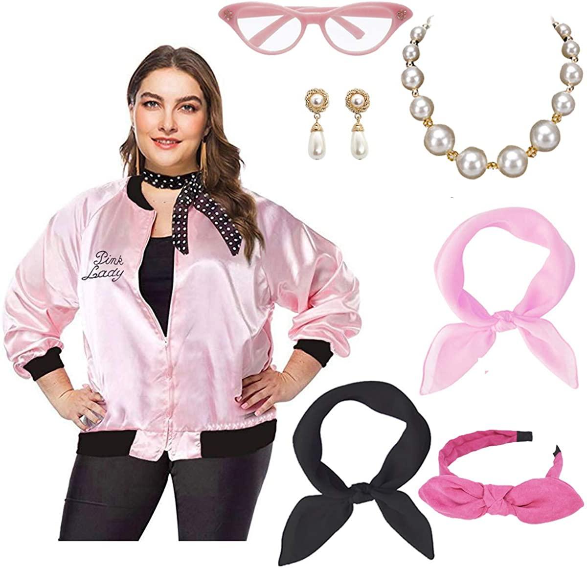 Womens Plus Size 50S Pink Party Halloween Jacket Fancy Costume Set