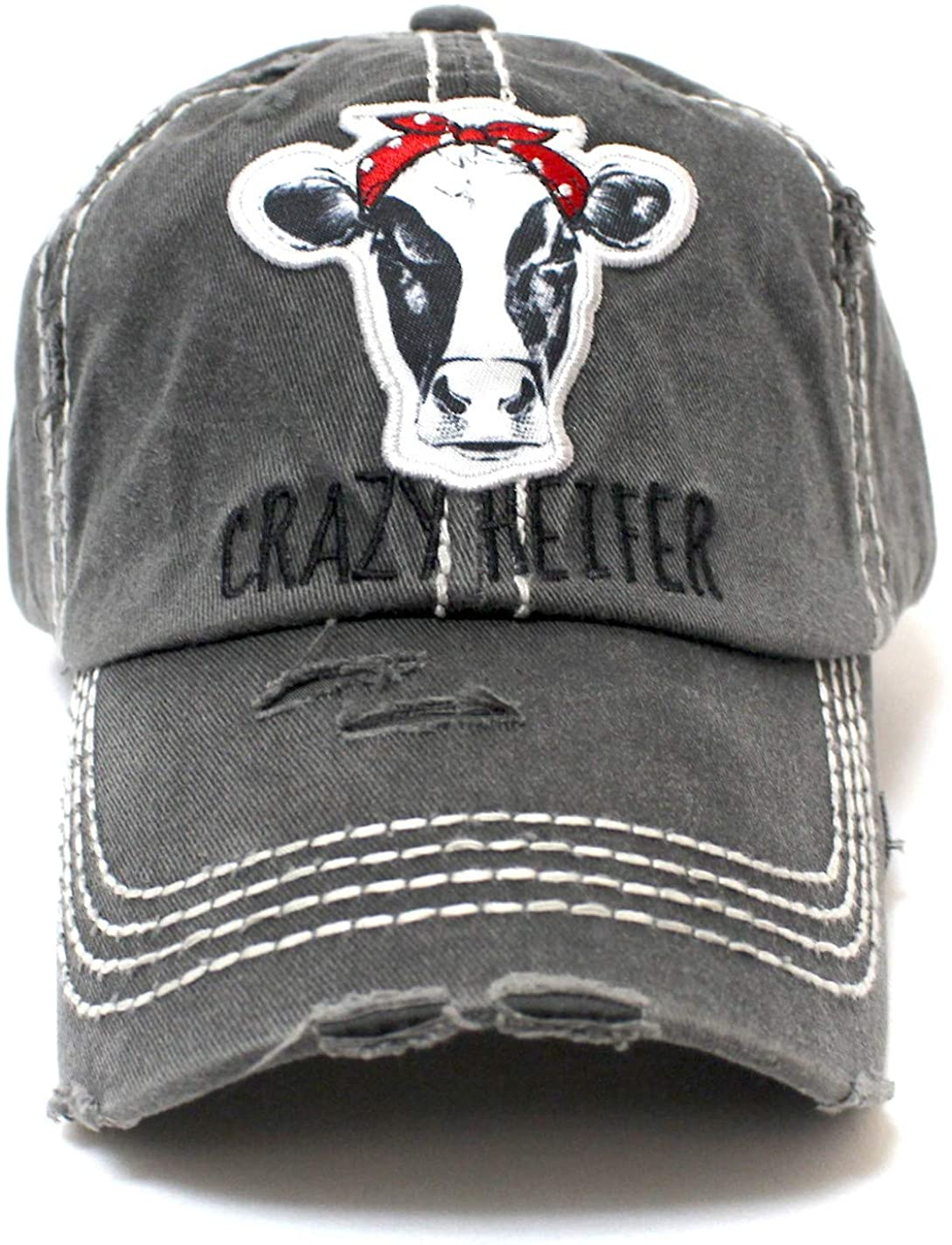 CAPS 'N VINTAGE Women's Baseball Cap Crazy Heifer Cow Patch Embroidery Hat Charcoal Gray