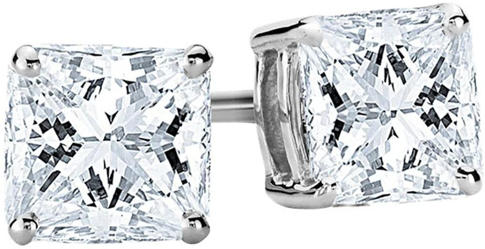 1-3 Carat 14K White Gold GIA Certified Princess Cut Diamond Earrings Push Back Luxury Collection (D-E Color, VS1-VS2 Clarity)