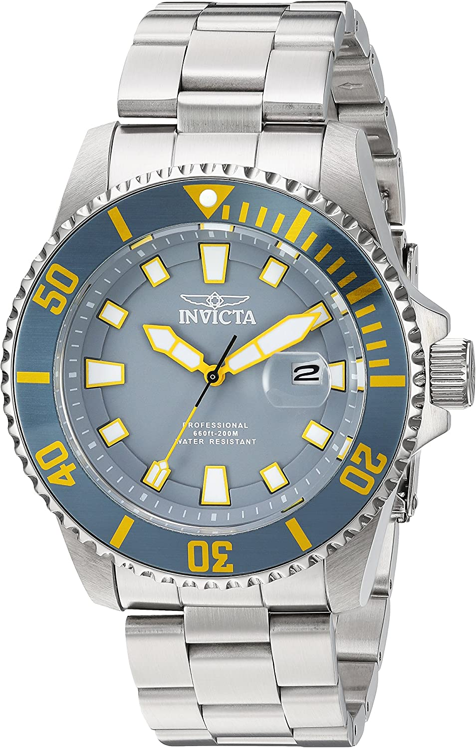 Invicta Men's Pro Diver Quartz Watch with Stainless-Steel Strap, Silver, 22 (Model: 90295)
