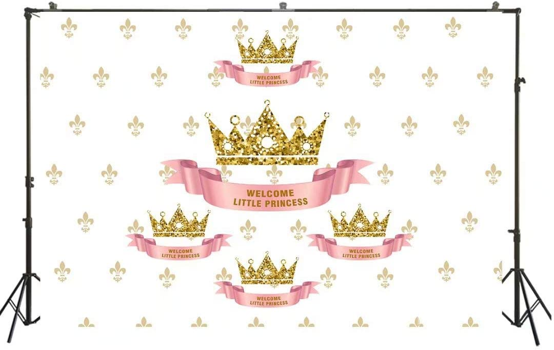 HUAYI White Screen with Pattern and Golden Crown Backdrop Welcome Little Princess Themed Party Decoration Background Taking Photos of Baby Shower vinly fabrich US-W-896-5×3 ft