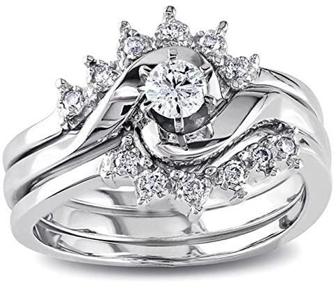 Royal crown design Trio Wedding Ring Set for Her in White Gold 1/2 Carat Diamond