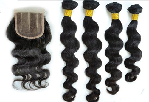 DaJun Hair 7A Indian Remy Human Hair 3 Bundles Wefts Mixed Length Body Wave Natural Color 16closure+222424weft