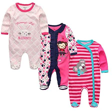 DUAN The New Baby Girl Clothes, 3 Pieces/Group 100% Cotton Long Sleeves 0-3 Months Baby Girl Clothes, Cartoon Baby Romper Baby Clothes Girl for Wear on The Body Gift Photograph Western Style