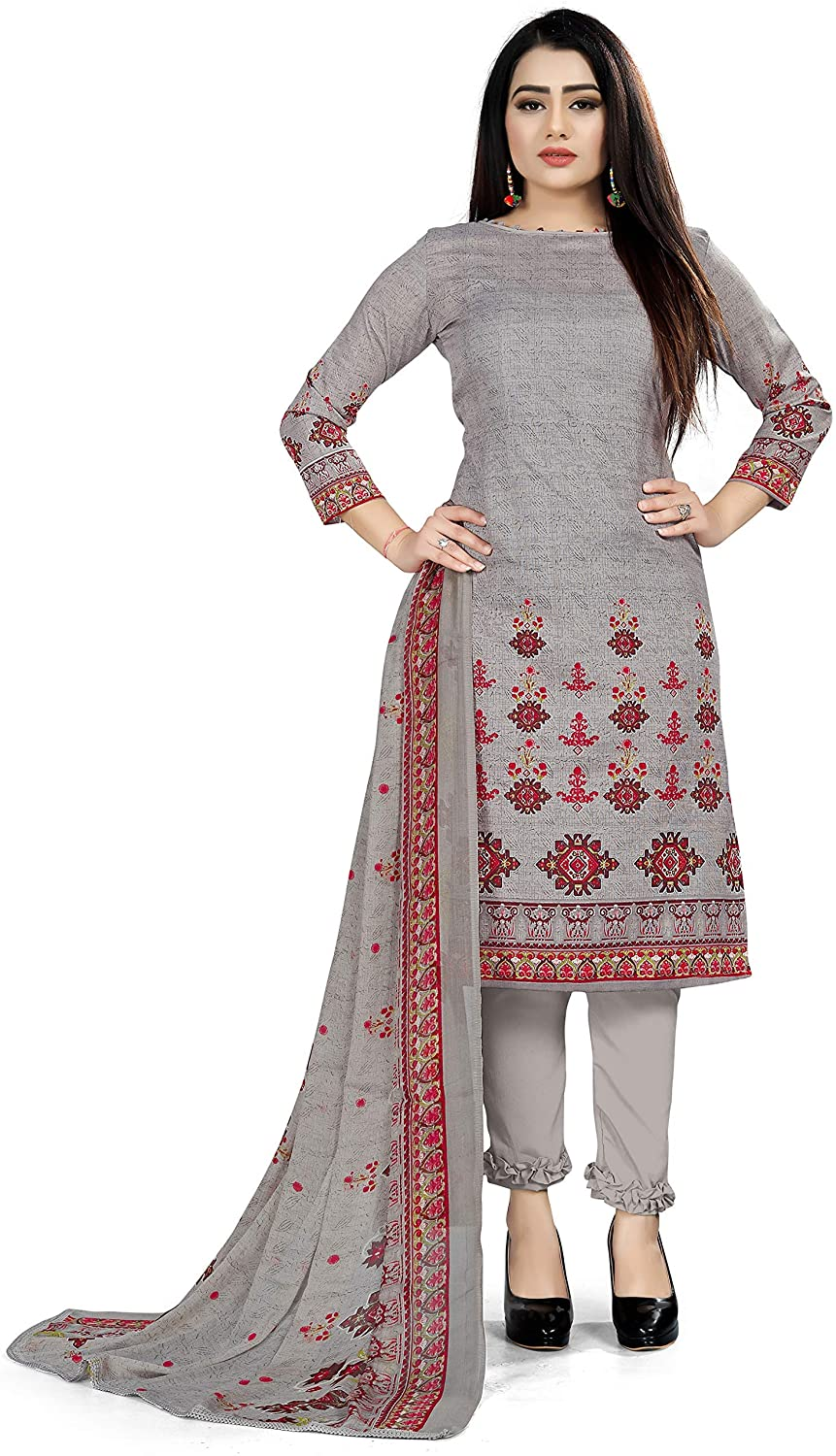 Women's Cotton & Chiffon Unstitched Salwar Suits with Dupatta Dress Material Indian Ethnic Wear for Girl Grey