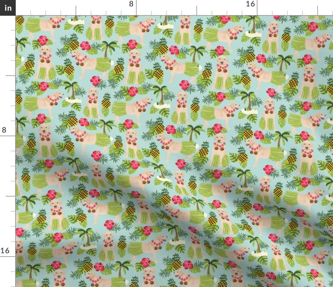 Spoonflower Fabric - Yellow Lab Summer Tropical Labrador Light Blue Retriever Hawaiian Pet Printed on Cotton Spandex Jersey Fabric by The Yard - Fashion Apparel Clothing with 4-Way