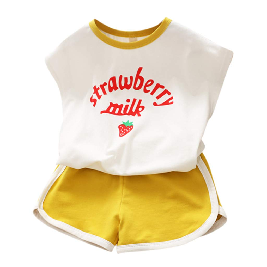 Top & Pants Set, Toddler Kids Baby Girls Tracksuit Set Letter T Shirt Strawberry Shorts Outfits, Clothes for Kids Boys Girls Yellow 5-6 T