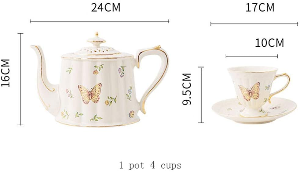 Creative Fashion Printing Pattern Coffee Cup And Saucer, Household Exquisite Teapot, Ceramic English Afternoon Tea Set (Color : Style 1)