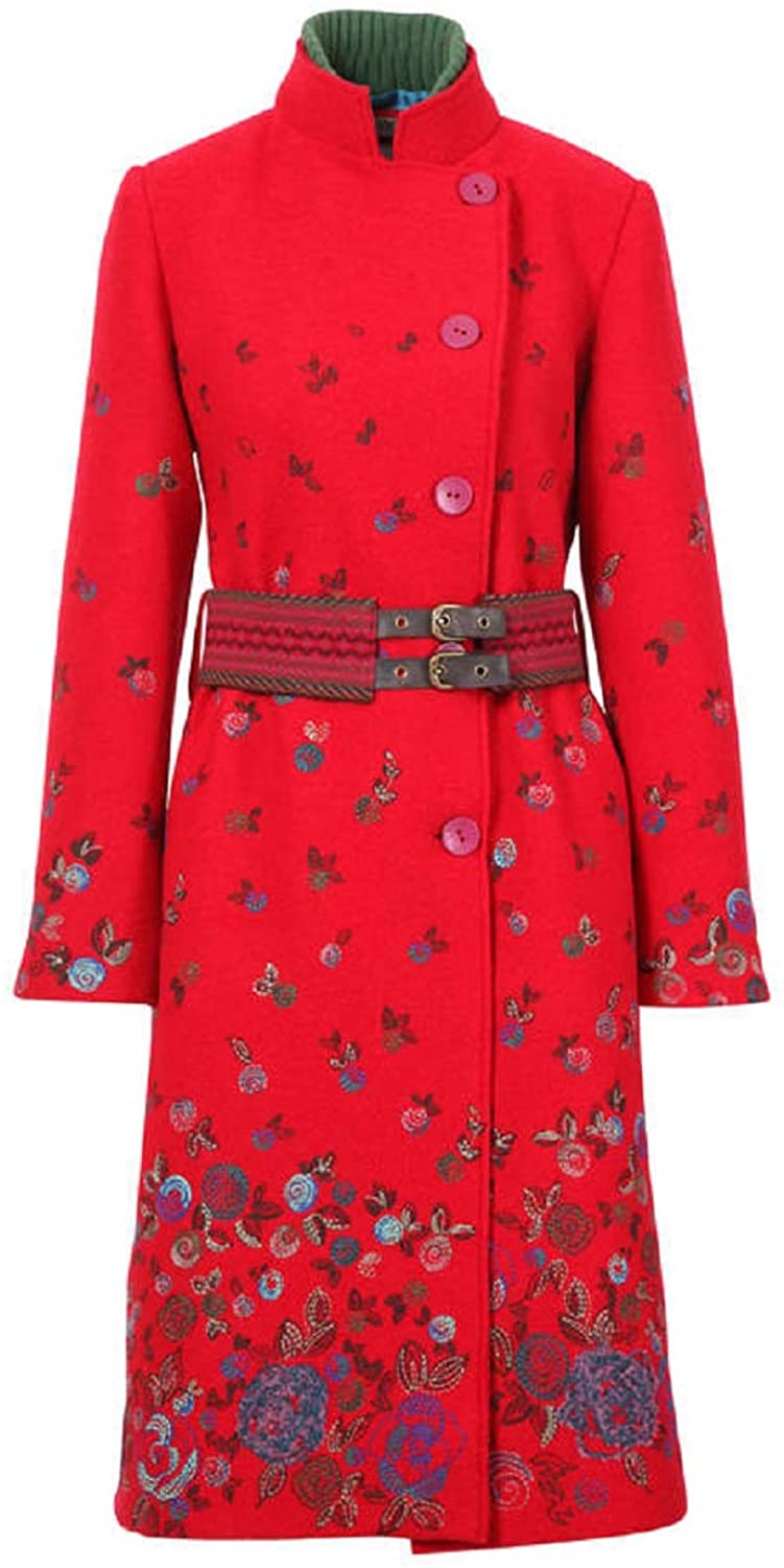 IVKO Boiled Wool Coat with Embroidery, Red