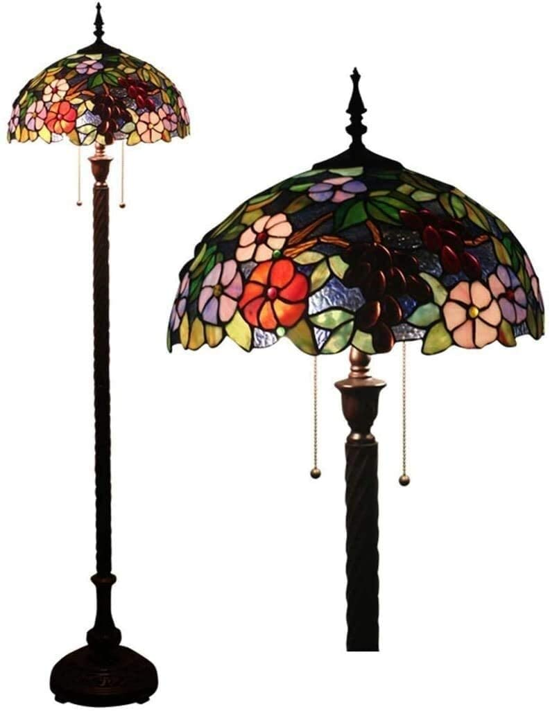 XKstyle Modern Room Lamp 16 Inch Tiffany Style Floor Lamp Retro Stained Glass Floor Lamp Zipper Switch Decorative Reading Lamp