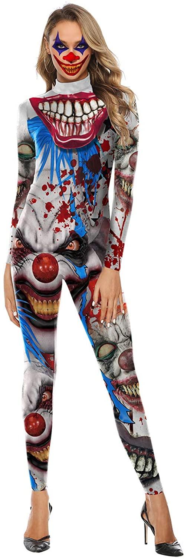 QUEENSDOWN Halloween Womens Costume Skeleton 3D Printed Bodysuit Clown/Skull/Rose Cosplay Jumpsuit