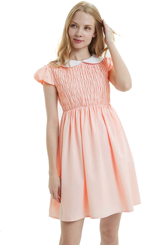 Women's Pure Pink Peter Pan Collar Costume Dress Short Sleeve with Socks