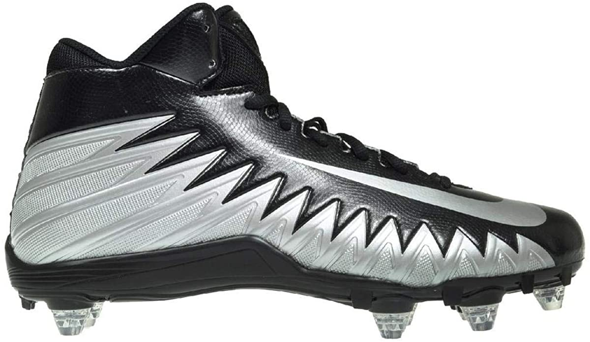 Nike Mens Alpha Menace Varsity Mid D Football Cleat Black/Metallic Silver/White Size