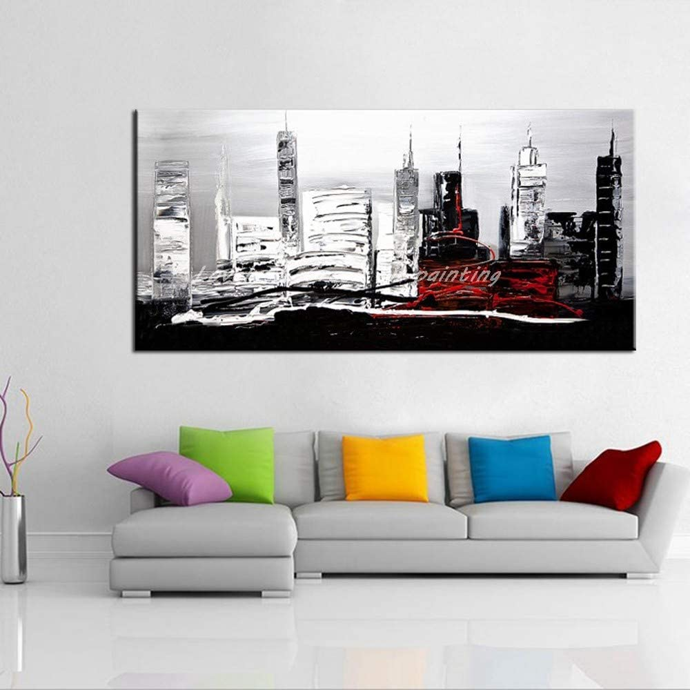 Hand Painted Oil Painting On Canvas 100% Hand Painted Canvas Oil Paintings Modern Abstract City Landscape Wall Art Pictures For Living Room Home Decoration,No Frame,51×102 Inch (130×260Cm)