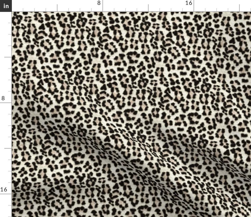 Spoonflower Fabric - Snow Leopard Big Cat Jaguar Animal Cheetah Rockabilly Rock Punk Printed on Petal Signature Cotton Fabric by The Yard - Sewing Quilting Apparel Crafts Decor