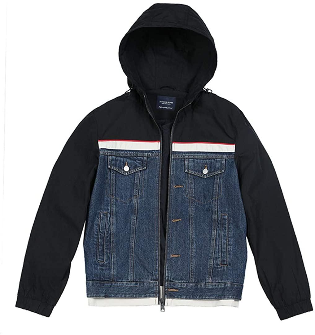 Autumn Winter Denim Hooded Jackets Men Contrast Color Streetwear Hip Hop Patchwork Coats Clothing