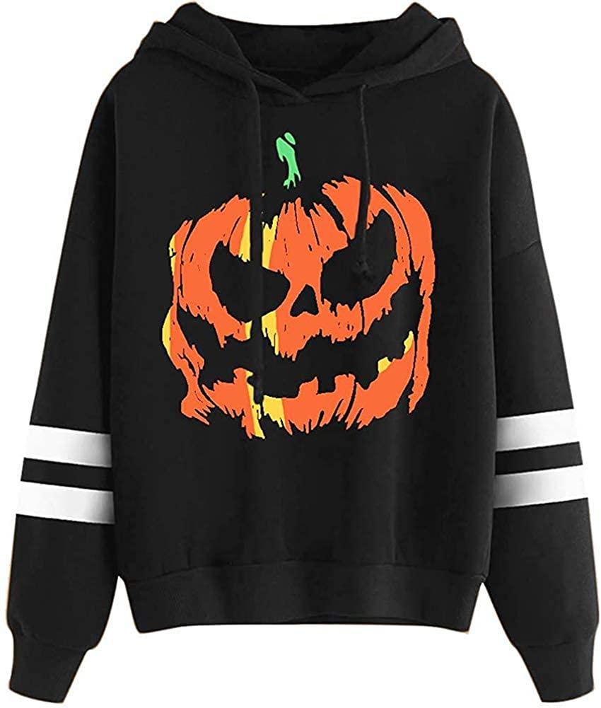 OWIN Women's Halloween Leopard Print Funny Pumpkin face Skeleton Long Sleeve Sweatshirts Casual Pullover Tops Costume