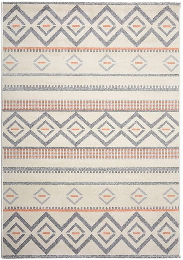 Longwei Carpet Rug Modern Minimalist Art Orange Gray Geometric Pattern Washable Art Environmental Protection Art Living Room Bedroom mats (Size : 2.43.3m)