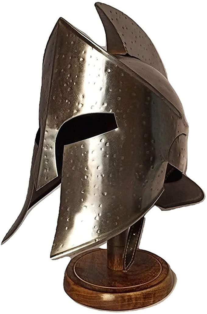 UNIQUEWONDERITEMS Medieval Armour King Leonidas Greek Spartan Helmet | 300 Roman Helmet| Silver Ancient Cosplay Costumes