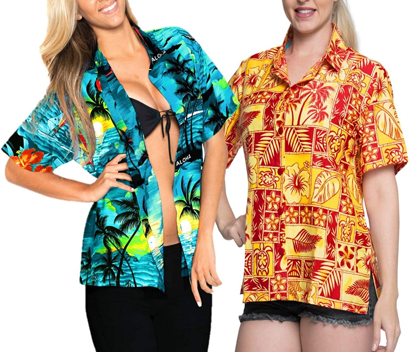 LA LEELA Women's Hawaiian Blouse Shirt Regular Fit Short Sleeve Shirt Work from Home Clothes Women Beach Shirt Blouse Shirt Combo Pack of 2 Size L