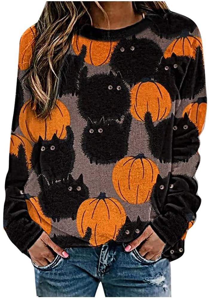 MeikoHome Halloween Shirts for Womens Pumpkin Costumes Cute Crewneck Sweatshirt Cat Bats Pullover