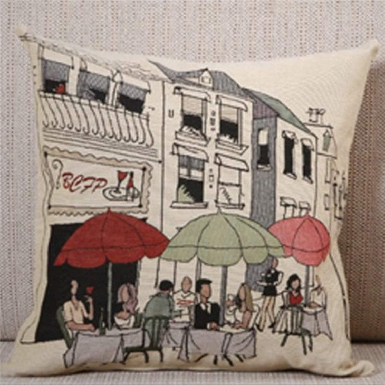 BYRON HOYLE Rome Street Cocktail Bar Decorative Cotton Linen Pillowcase Throw Pillow Cover Cushion Cover Home Decor 18x18 Inch