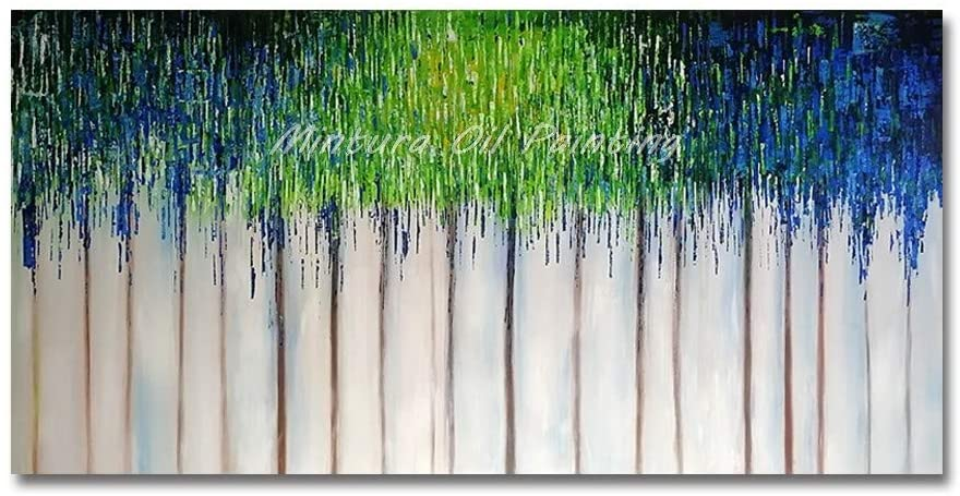 LucklyingBao Hand Painted Oil Painting On Canvas Wall Picture for Living Room Oil Paintings On Canvas Hand Painted Abstract Blue and Green Wall Art for Hotel Decor,No Frame,51×102 Inch (130×260Cm)