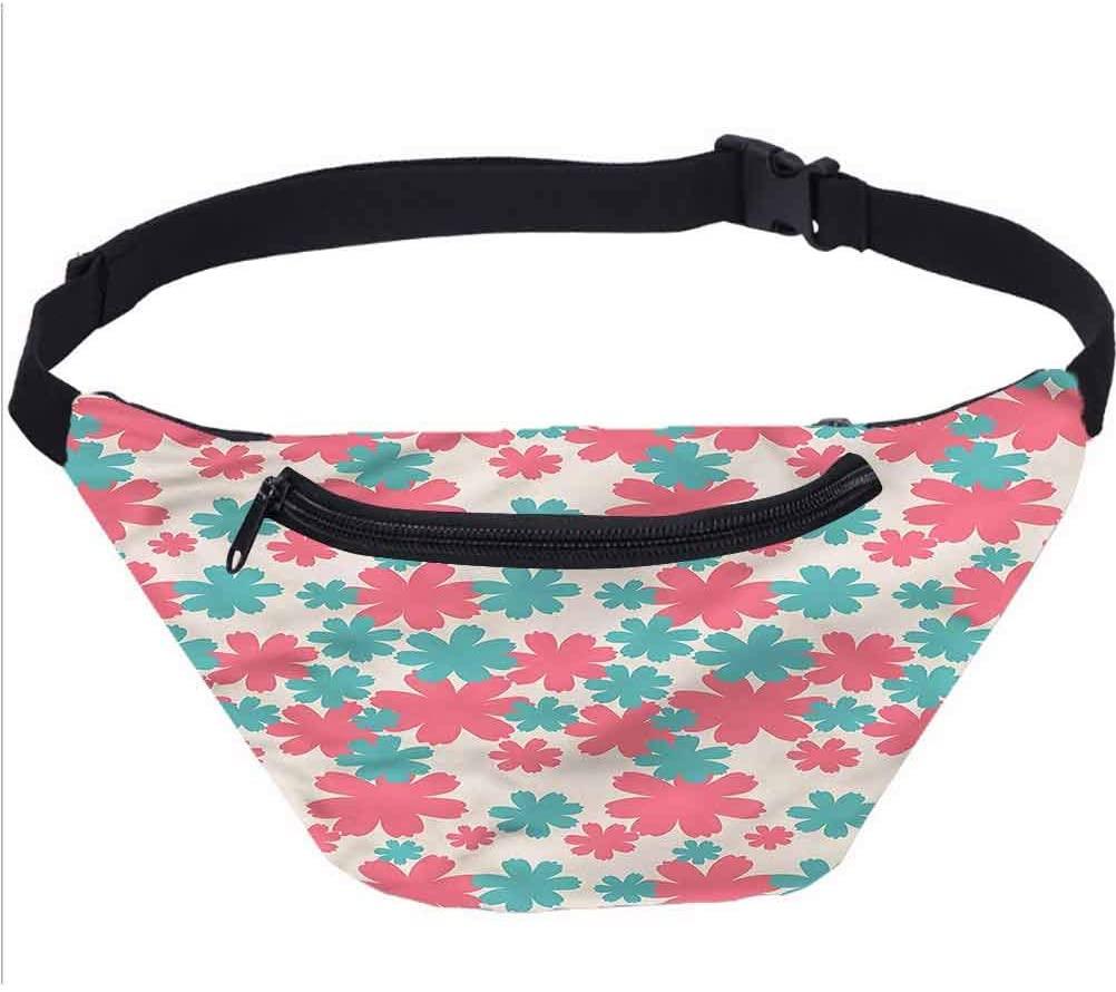 Garden Travel Fanny Bag,Big Flowers Burst Lush Waist Pack Travel Crossbody Hip Bag