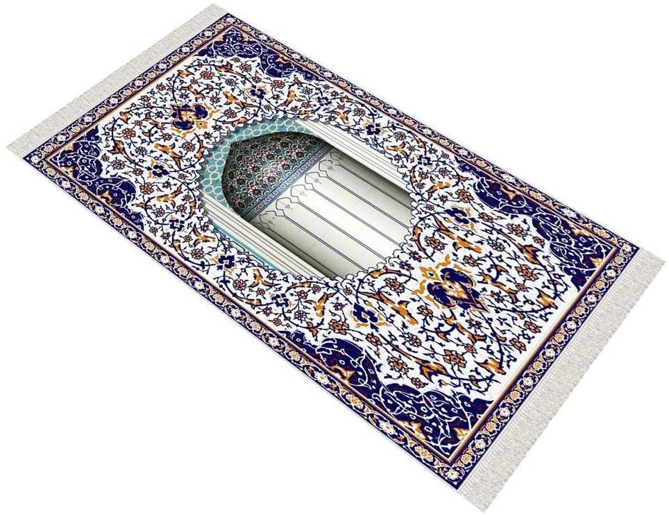 Blue Royal Mihrab Soft Prayer Rug Cotton Layer Janamaz Anti Slip Backing Bamboo Cotton Prayer Mat Islamic Gifts