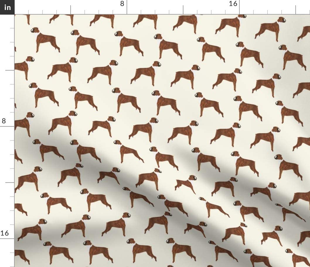 Spoonflower Fabric - Boxer Dogs Cute Pet Breeds Printed on Petal Signature Cotton Fabric by The Yard - Sewing Quilting Apparel Crafts Decor