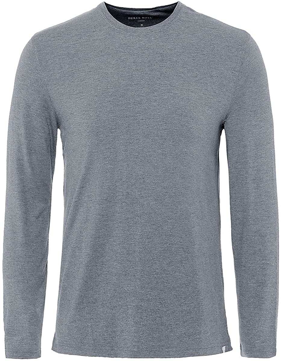 Derek Rose Mens Long Sleeve Marlowe T-Shirt Charcoal