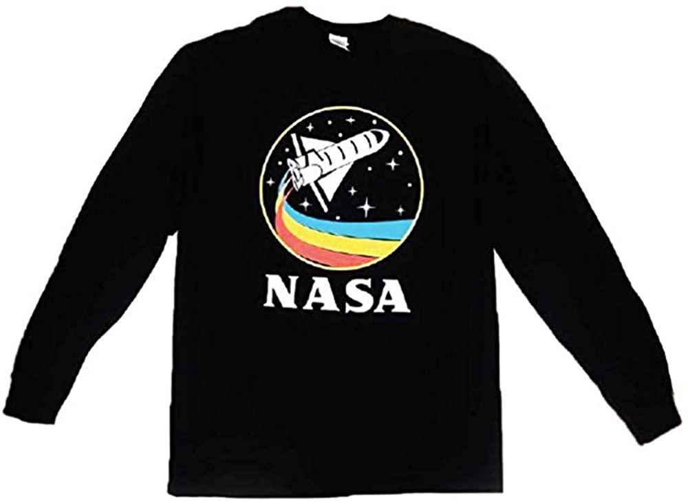 CityDreamShop NASA Retro Rocketship Designed Long Sleeve Shirt