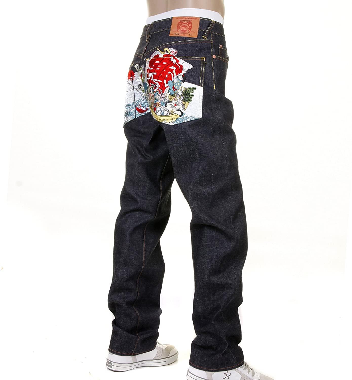 RMC Martin Ksohoh Full Back Embroidered 7 Lucky Gods Slimmer Cut 1001 Model Denim Jean REDM1212