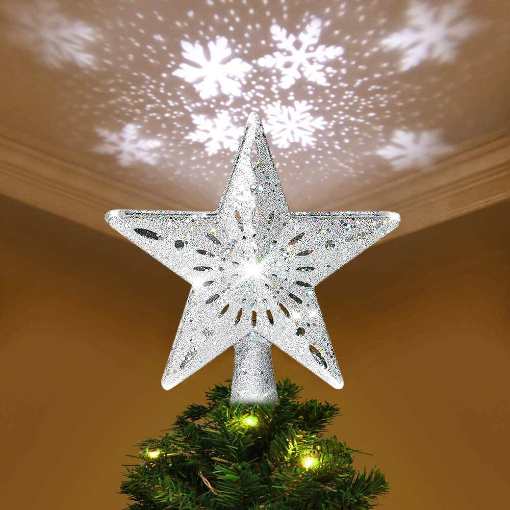 YZHI Christmas Tree Topper Projector Lighted Ornaments Snowflake Lights 3D Star Xmas Tree Decoration (Silver)