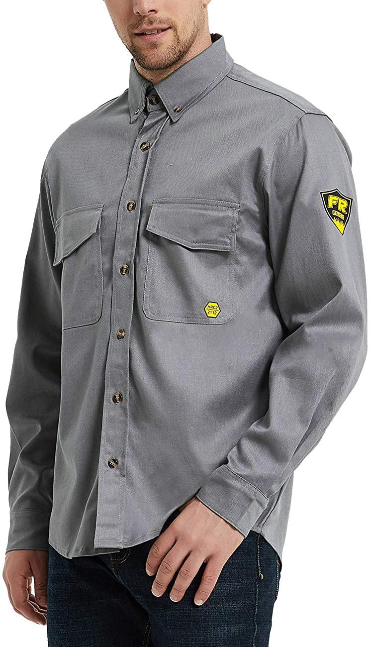 PTAHDUS 7.5oz Men's Flame Resistant Button Down Shirt, Men Lightweight Twill FR Work Shirt Ideal for Welding and Oil Worker