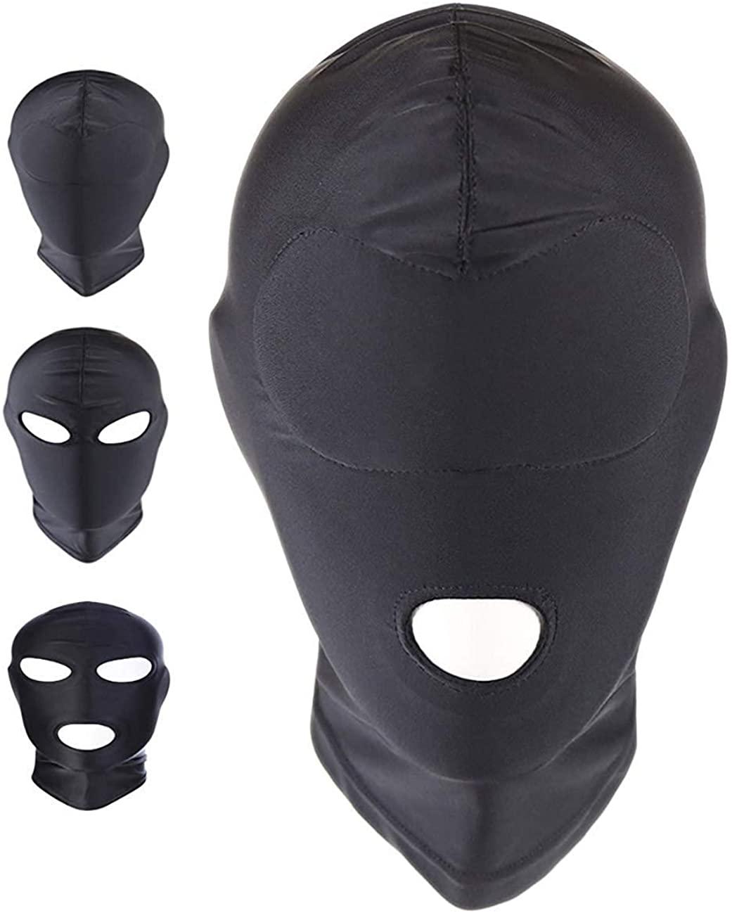 OMFMF Black Breathable Full Cover Spandex Zentai Costume Hood Mask