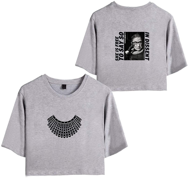 KTSWP RBG Chief Justice Ruth Bader Ginsburg Fashion Short Sleeve Short T-Shirt for Women