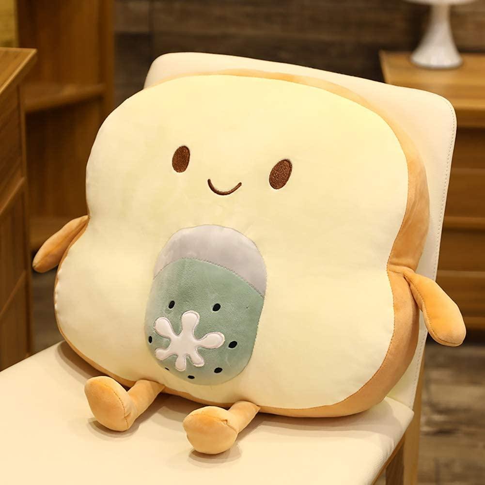 Bread Shape Plush Pillow Cute Smile Stuffed Bread Doll Toy Plush Sofa Back Cushion for Adults Gift Bedroom Bed Kids Room Decor,Kiwi