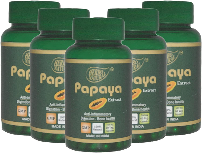 Herbo Natural AyurVedic Papaya Extract 500 mg 60 Veg Capsules GMP Certified (Pack of 5)