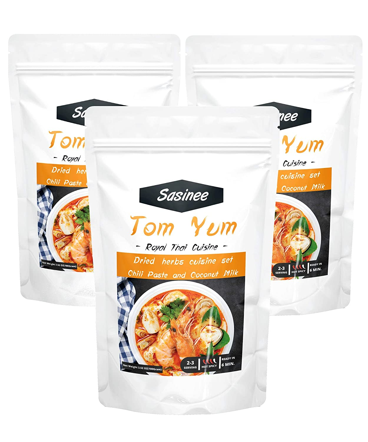 Sasinee Tom Yum Soup Set – Tom Yum Paste Soup – Delicious and Easy to Prepare (3 Pack)
