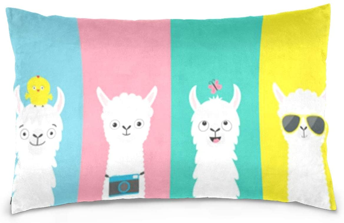 Kaariok Fun Animal Llama Colorful Rainbow Stripe Cotton Pillowcase Standard Size Double Printed Soft Pillow Case Cover Protector with Zipper Home 20 X 26 Inches
