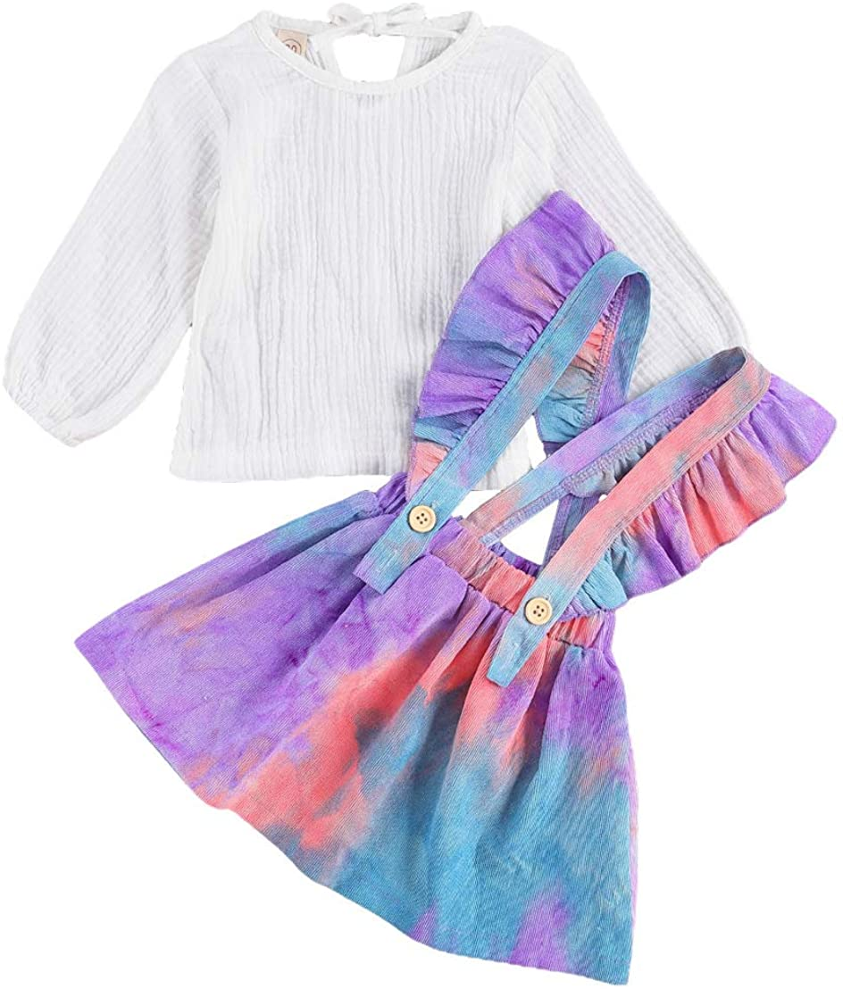 0-6Y Toddler Baby Girl Strap Skirt Sets Solid Cotton Linen Tops+Tie-Dye Ruffle Suspender Dress Outfit Set