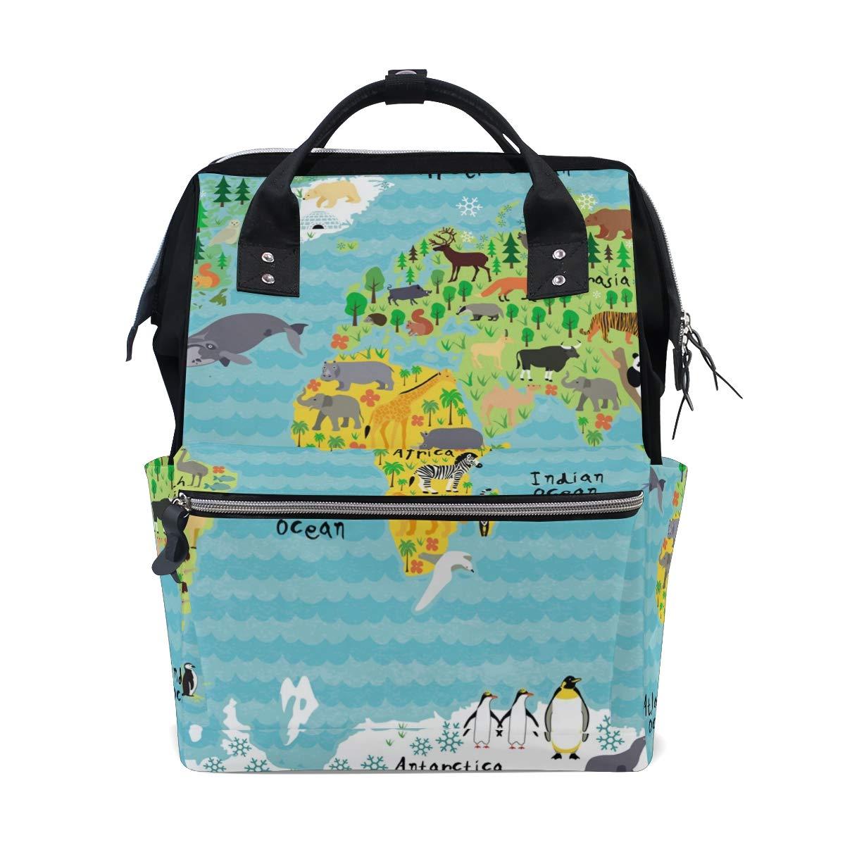 MERRYSUGAR Diaper Bag School Backpack Baby Bag World Map Animal Blue Large Multifunction Travel Bag Mommy Bag