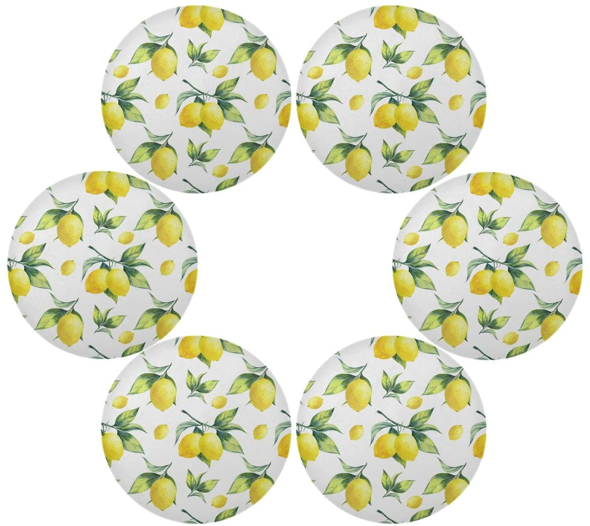 UMIRIKO Lemon Round Placemats Set of 6 Fruit Heat-Resistant Table Mats Non-Slip Place Mats Anti-Skid Washable for Dining Table 2020012