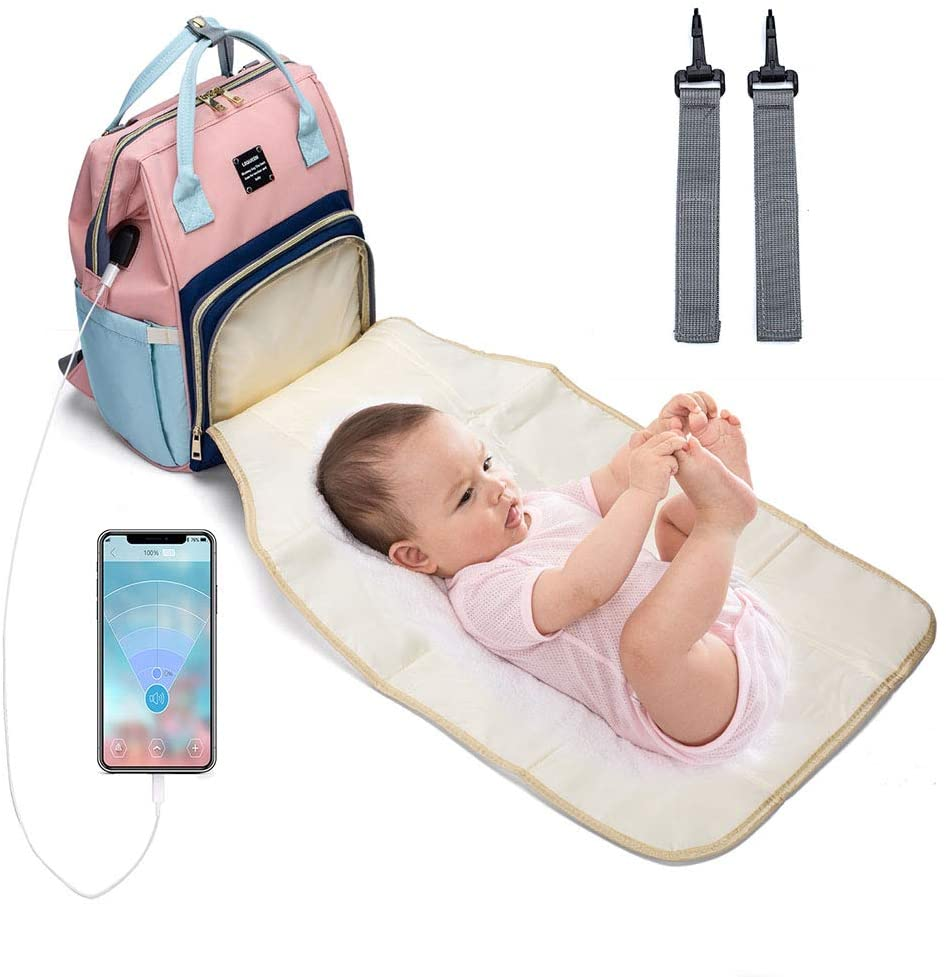 YU-NIYUT Baby Diaper Mummy Backpack Large Nappy Bag with USB Charging Port Stroller Strap Multi-Function Storage Backpack for Mom Nurses Students