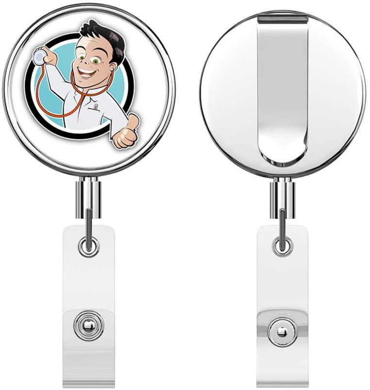 Doctor Funny Cartoon Retractable Reel Chrome Metal Badge ID Card Holder Clip