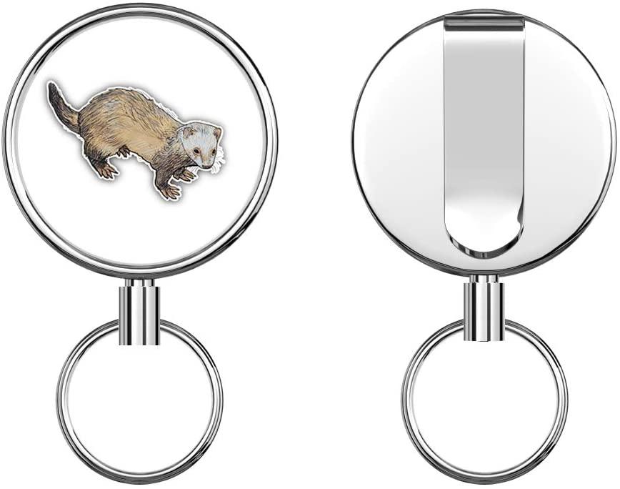 Ferret Sketch Retractable Badge Holder Reel Metal ID Badge Holder with Belt Clip Key Ring for Name Card Keychain