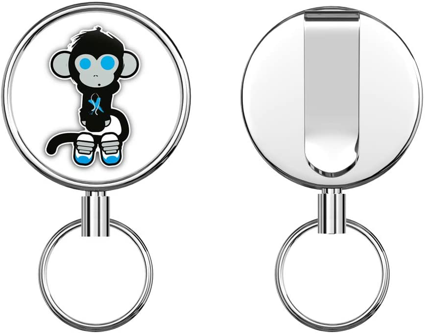 Monkey Animal Retractable Badge Holder Reel Metal ID Badge Holder with Belt Clip Key Ring for Name Card Keychain